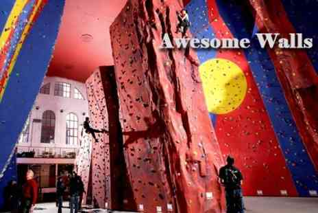 Awesome Walls Stockport - One Hour Climbing Lesson Plus Climbing Session For Two - Save 64%