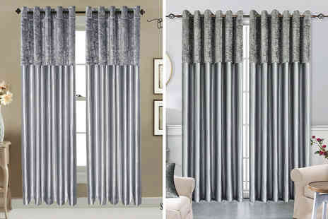 Home Decoration World - Pair of crushed velvet band faux silk curtains - Save 0%