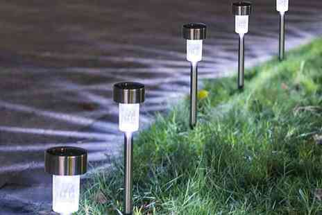 Wish Whoosh Offers - Set of 10 stainless steel solar Led garden lights - Save 60%