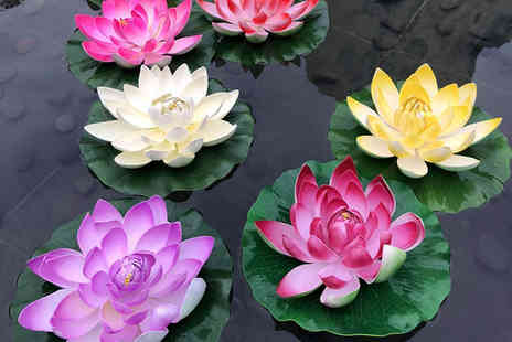 Magic Trend - Set of four floating lily pad water features - Save 0%