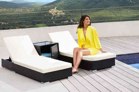Tectake - Pair of polyrattan sun loungers with a table and covers - Save 0%