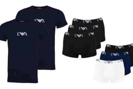 Groupon Goods Global GmbH - Two or Three Pack of Emporio Armani Lounge Mens Tshirts - Save 0%