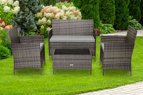 Esenti - Four piece polyrattan garden or conservatory furniture set - Save 79%