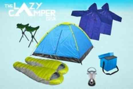 Lazy Camper - Camping Kit Four Man Tent, Sleeping Bags, Cool Bag and Stools - Save 60%