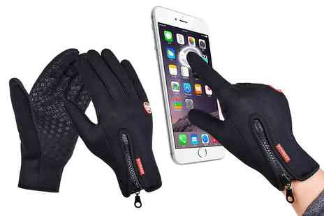 Shanghai Zhengxiang QicheZuling - Pair of touch screen windproof gloves in Blue, Pink, Black or Orange - Save 65%