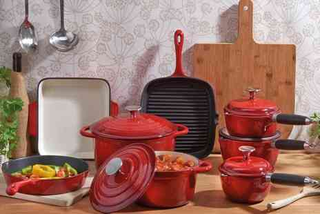 Esher Mail Order - Eight piece cooks professional deluxe 8pc cast iron set - Save 48%