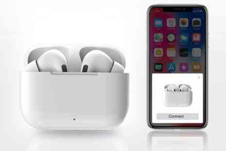 Best Tablet Company - Pair of white wireless H03 earphones and charging box - Save 71%