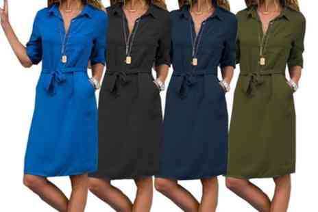 Groupon Goods Global GmbH - One or Two Tie Waist Shirt Dresses - Save 0%