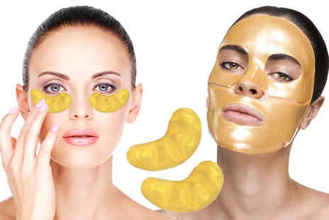 Forever cosmetics - 20pc gold collagen face and eye mask bundle - Save 89%