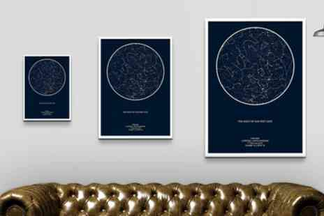 Maps for Moments - Personalised Night Sky Star Map in Choice of Size with Free Delivery - Save 57%