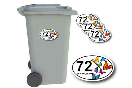 Deco Matters - Pack of four personalised wheelie bin number stickers - Save 0%