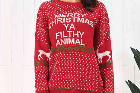 Bag A Bargain - Womens Merry Christmas Ya Filthy Animal Jumper - Save 66%