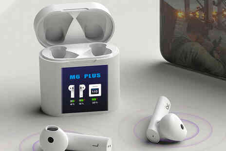 Arther Gold - Pair of white M6 Plus TWS Bluetooth earbuds - Save 65%