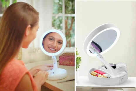 PinkPree - White double sided LED makeup vanity mirror - Save 57%
