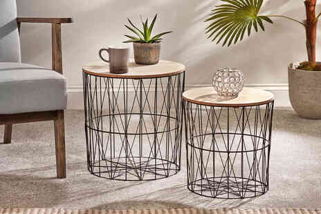 CJ Offers - Pair of geometric metal coffee tables - Save 43%