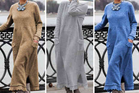 hey4beauty - Womens long sleeve loose knit jumper dress - Save 0%