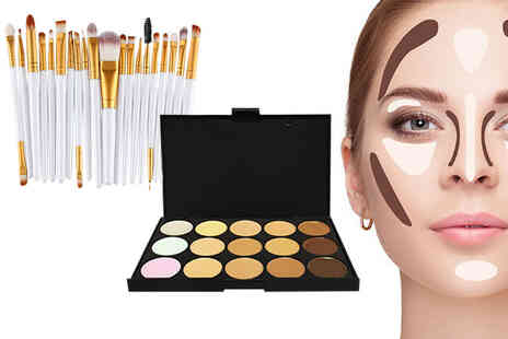 Forever Cosmetics - 20 piece brush set and 15 shade contour makeup palette - Save 55%