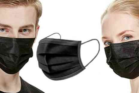 Groupon Goods Global GmbH - 50 or 100 Three Ply Black Disposable Face Masks - Save 0%