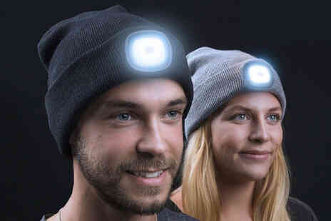 Vivo Mounts - USB rechargeable LED beanie hat in blue, grey or black - Save 75%