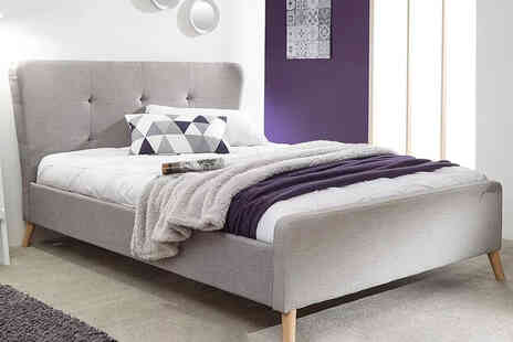 FTA Furnishing - Double grey winged tufted bed - Save 50%