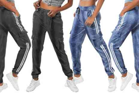 Groupon Goods Global GmbH - Womens Denim Look Striped Combat Joggers - Save 0%