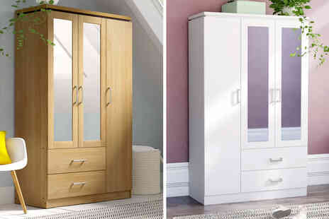 Accessory Box - Three door wardrobe in white or brown beech wood effect - Save 24%