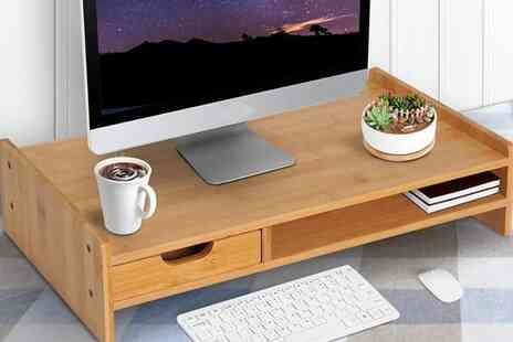 Mhstar - Bamboo Desktop Stand with Drawer - Save 13%