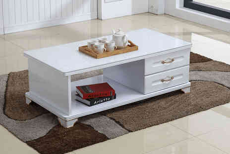 Buy Empire - Modern glass top coffee table with drawers - Save 74%