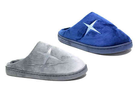 Shoe Fest - Pair of mens plush star slippers in dark grey or navy - Save 0%