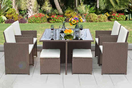 Direct Sourcing - Nine piece cube rattan furniture set - Save 0%