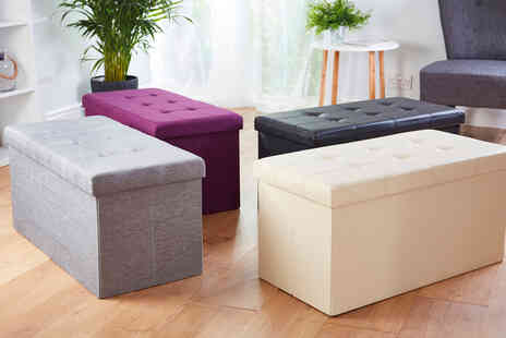 CJ Offers - Foldable ottoman storage box in faux leather linen or velvet - Save 60%
