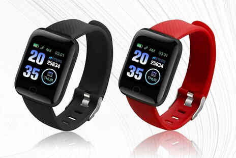 Wish Imports - Smart bracelet watch in black or red - Save 68%