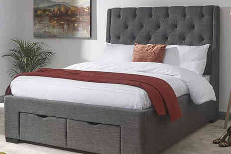 FTA Furnishing - Grey fabric storage double bed - Save 35%