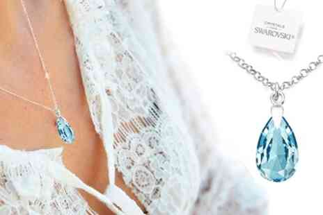 Groupon Goods Global GmbH - Ah! Jewellery 925 Sterling Silver Pear Necklaces with Crystals - Save 91%