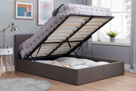 FTA Furnishing - Small double grey end lift storage bed frame - Save 73%
