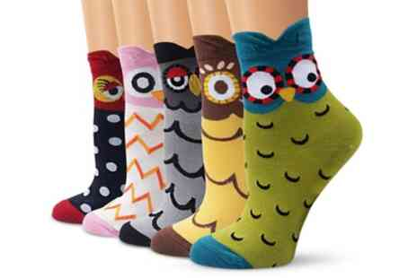 Groupon Goods Global GmbH - Five Pack of Owl Shaped Socks - Save 75%