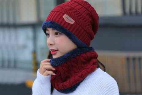 Groupon Goods Global GmbH - Neck Warmer Knitted Hat and Scarf Set - Save 0%