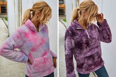 Arther Gold - Womens tie dye teddy fur fleece in red, purple, grey, green, blue, light blue or orange - Save 66%
