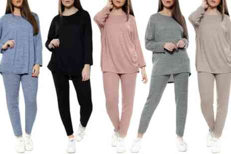 Groupon Goods Global GmbH - Womens Plain Ribbed Knitted Tracksuit Lounge Set - Save 6%