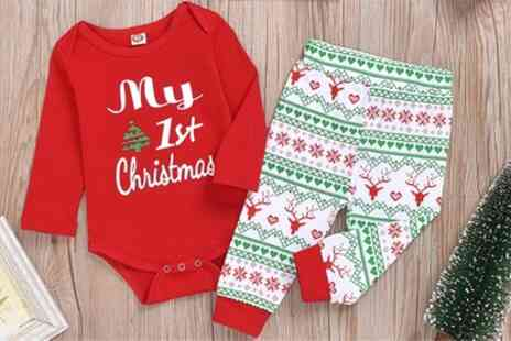Groupon Goods Global GmbH - My First Christmas Baby Romper - Save 77%