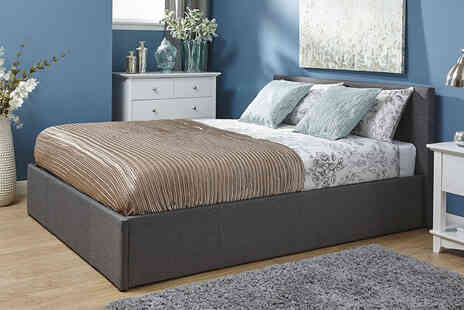 FTA Furnishing - Small double grey fabric ottoman bed with side or front lift - Save 70%