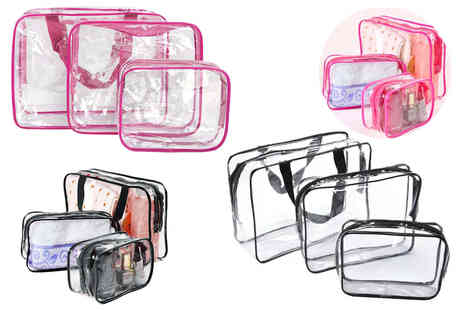 Forever Cosmetics - Set of three clear travel bags - Save 33%