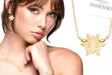 Groupon Goods Global GmbH - Ah Jewellery Open Work Snowflake Earrings, Necklace and Bracelet Selection - Save 90%