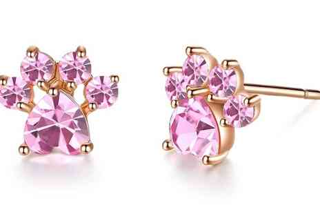 Your Ideal Gift - Crystal Pink Paw Stud Earrings - Save 90%