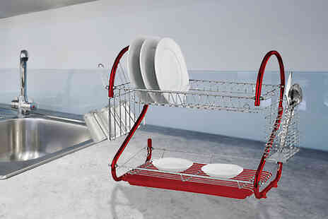 Direct 2 public - 2 Tier Chrome Plated Steel Dish Rack - Save 75%
