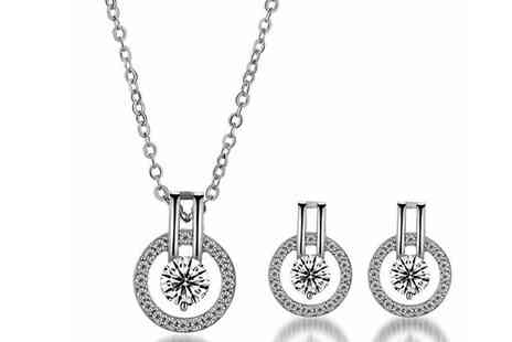 Elle and Be - White Simulated Sapphire Earrings and Necklace Set - Save 67%