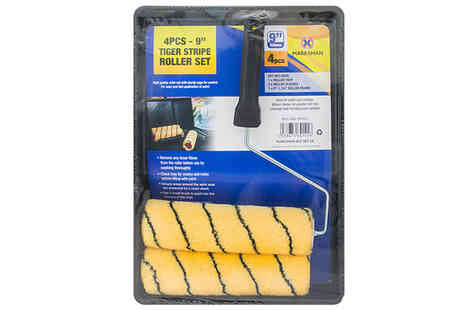 Direct 2 public - 4 Piece Woven Striped Painting Roller Set - Save 29%