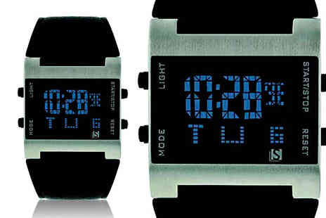 Personal Choice - Mens digital black strap watch - Save 60%