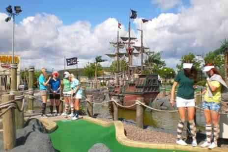 Adventure Golf Island - 18 Holes of Adventure Golf with Drink Each or Car Wash - Save 27%