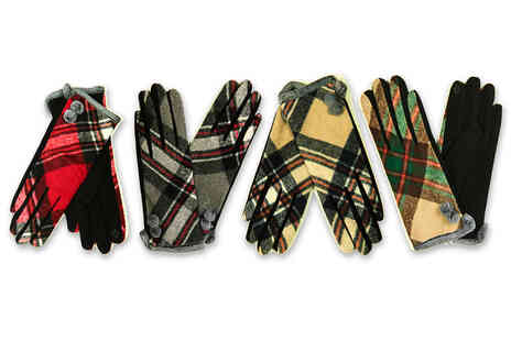 Evaniy Accessories - Pair of cosy winter tartan touch screen gloves in your choice of eight colours - Save 0%